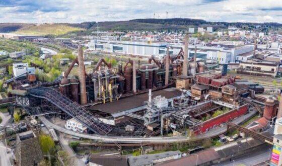 Vistas a la ferrería de Voelklingen, Sitio del Patrimonio Mundial de la UNESCO, Sarre, Alemania.